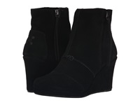 Toms Desert Wedge High Black Suede Women's Wedge Shoes