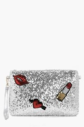 Boohoo Scarlet Sequin Patch Detail Clutch Bag Silver