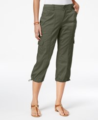 Style And Co Petite Bungee Hem Cargo Capri Pants Only At Macy's Olive Sprig