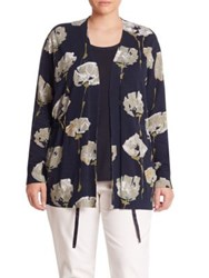 Lafayette 148 New York Floral Print Cardigan Ink Multi