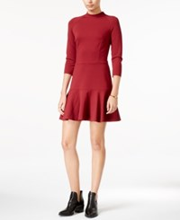 Armani Exchange Mock Neck Drop Waist Dress Cabernet