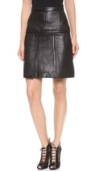 J. Mendel Traunto Stitched Leather Skirt Noir
