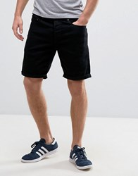 Solid Denim Shorts In Black Wash 9000