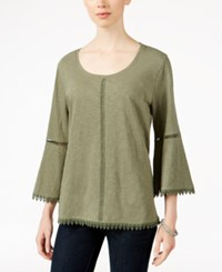 Styleandco. Style Co. Bell Sleeve Crochet Trim Knit Top Only At Macy's Olive Spring