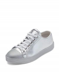 Prada Linea Rossa Leather Cap Toe Low Top Sneaker Silver