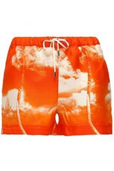 Orlebar Brown Printed Silk Shorts Bright Orange