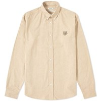 Kenzo Button Down Twill Oxford Shirt Brown