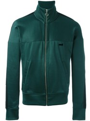 Ami Alexandre Mattiussi Zipped Contrast Band Track Jacket Green