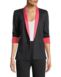 Escada Jeweled One Button Tux Jacket W Contrast Lapel And Cuffs Black