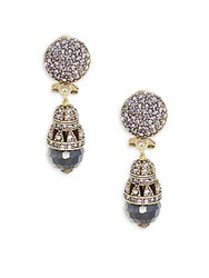 Heidi Daus Crystal And Rhinestone Ball Drop Earrings Hematite