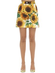 Dolce And Gabbana Printed High Waist Cotton Poplin Shorts Multicolor