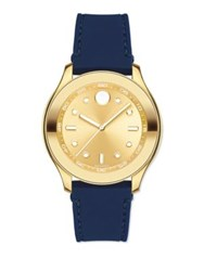 Movado Bold Goldtone Stainless Steel And Silicone Strap Sport Watch Navy
