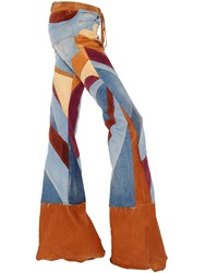 Roberto Cavalli Patchwork Denim Suede And Leather Jeans