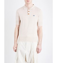 Vivienne Westwood Logo Detail Cotton Knitted Polo Shirt Off White