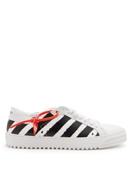 Off White Striped Low Top Leather Sneakers White Black