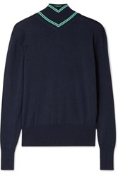 Maggie Marilyn Make A Difference Striped Merino Wool Turtleneck Sweater Midnight Blue
