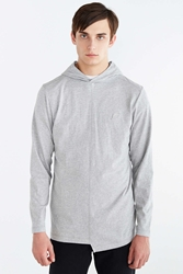 Publish Asymmetrical Pieced Pullover Hooded Shirt Charcoal