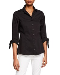 Finley Jackie Tie Sleeve Button Front Shirt Black