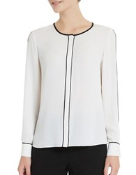 Ellen Tracy Roundneck Long Sleeve Blouse Cream