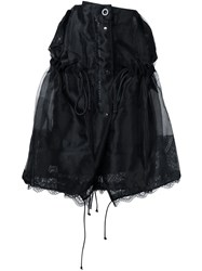 Sacai Lace Insert Ruched Skirt Black
