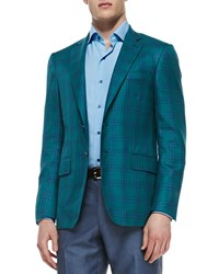 Isaia Plaid Two Button Jacket Green