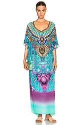 Camilla Round Neck Caftan In Blue Animal Print Abstract
