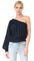 Free People Annabelle Asymmetrical Top Blue