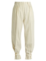 Hillier Bartley Tie Cuff Striped Wool Trousers Cream Stripe