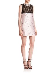 Giambattista Valli Floral Jacquard And Macrame Lace A Line Dress Pale Pink