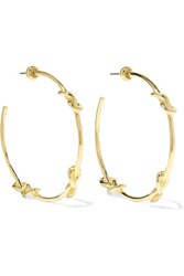 Noir Jewelry Knotted Gold Tone Hoop Earrings One Size