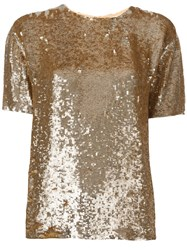P.A.R.O.S.H. Sequin Embellished T Shirt Metallic