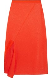 Victoria Beckham Asymmetric Stretch Knit Midi Skirt Bright Orange
