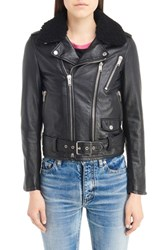 Saint Laurent Women's Leather Moto Jacket With Removable Genuine Shearling Collar