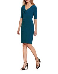 Lauren Ralph Lauren Cowlneck Jersey Dress Blue