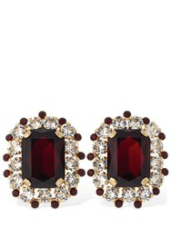 Dolce And Gabbana Crystal Clip On Earrings Red
