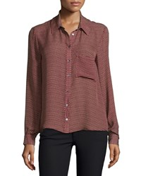 Haute Hippie To Jj With Love Long Sleeve Blouse Bordeaux Buff