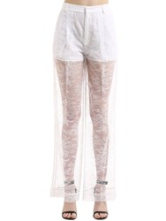 Givenchy Sheer Lace Wide Leg Pants White