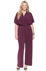 Plus Size Women's Eloquii Twist Front Jumpsuit Garnet