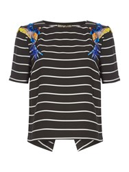 Biba Embellished Striped Top Multi Coloured Multi Coloured
