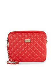 St. John Quilted Leather Convertible Clutch Red