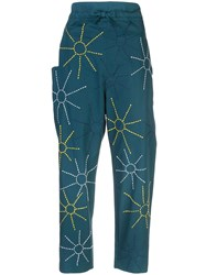Maison Rabih Kayrouz Embroidered Sun Trousers Green