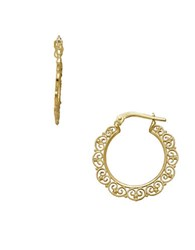 Lord And Taylor 14K Yellow Gold Round Swirled Edge Hoop Earrings