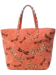Red Valentino Dragonfly Embellished Tote Pink And Purple