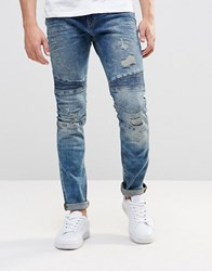 Pull And Bear Pullandbear Skinny Tapered Biker Jeans In Vintage Blue With Rips Blue