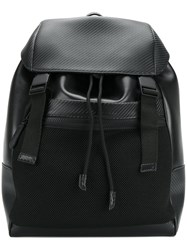 Canali Buckle Backpack Men Leather Polyamide Metal Other One Size Black