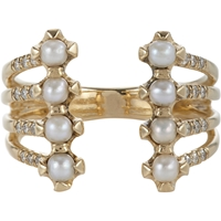 Jennie Kwon Pave Diamond Pearl And Gold Cuff Ring