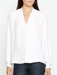 Reiss Mapel V Neck Blouse Off White