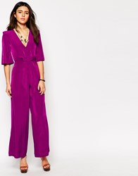Love Jumpsuit With V Neck And Wide Leg Magenta
