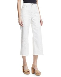Red Valentino Wide Leg Distressed Crop Jeans Ivory