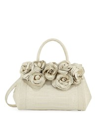 Nancy Gonzalez Rose Daisy Crocodile Satchel Bag Cream